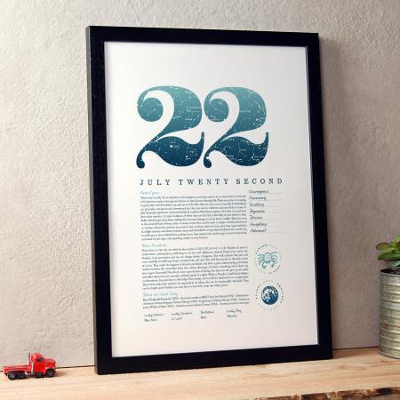 July 22nd Birthday Print