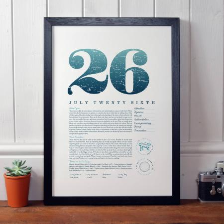 July 26th Birthday Print