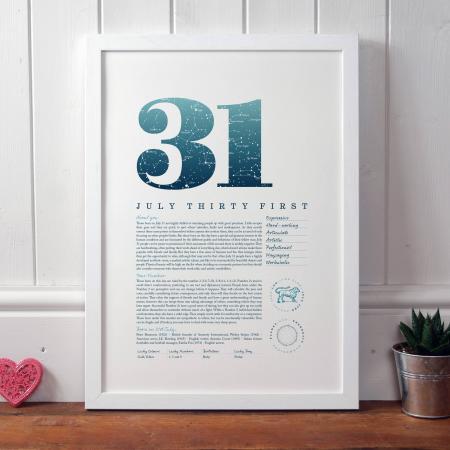 July 31st Birthday Print
