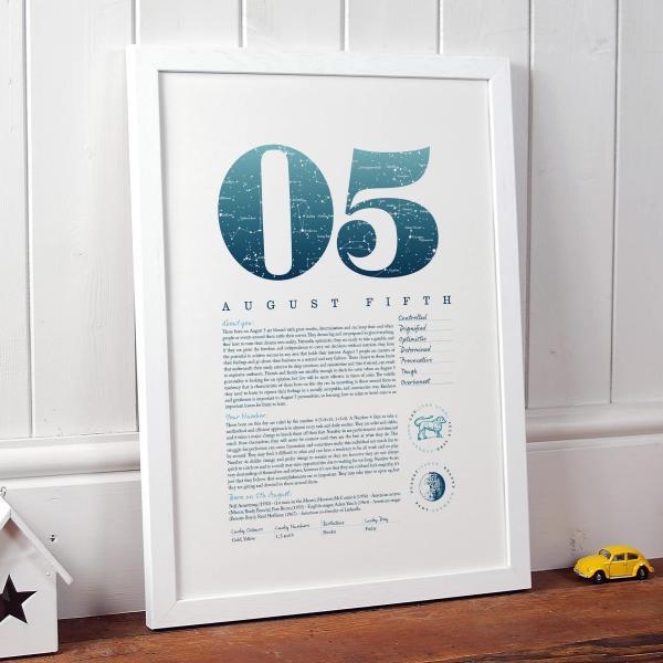 August 5th Birthday Print