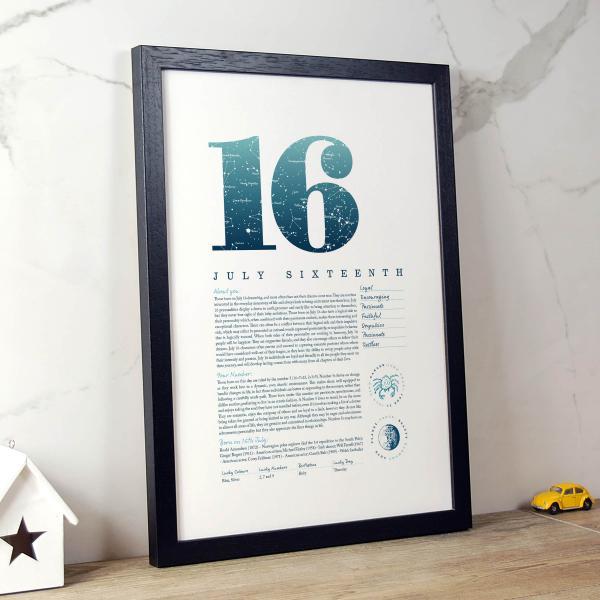 August 16th Birthday Print