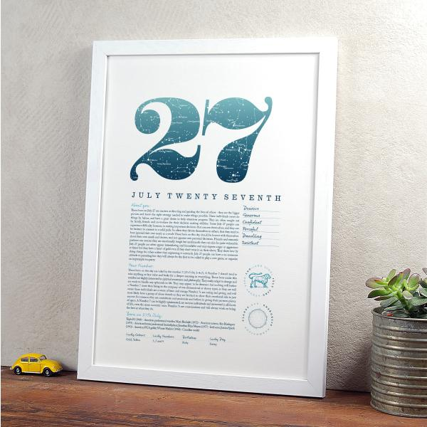 August 27th Birthday Print