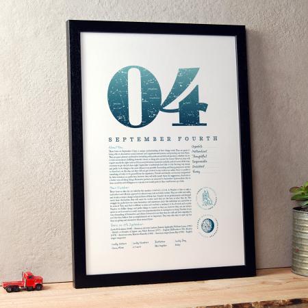 September 4th Birthday Print