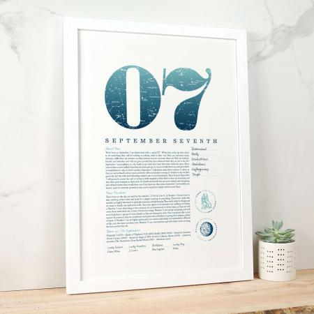 September 7th Birthday Print