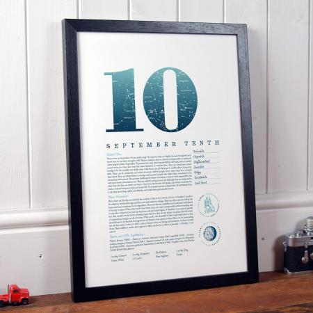 September 10th Birthday Print
