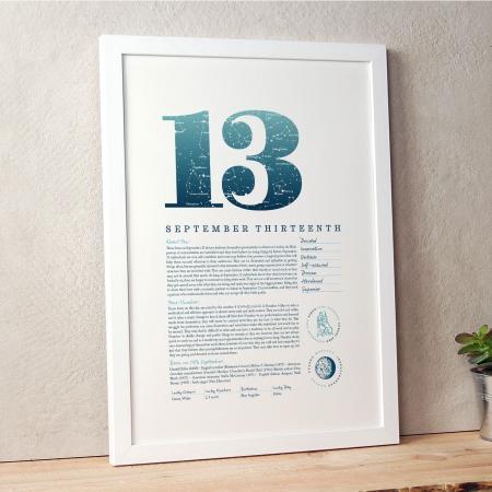 September 13th Birthday Print