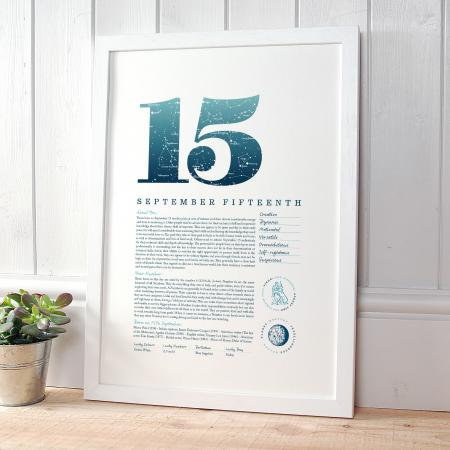 September 15th Birthday Print