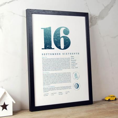 September 16th Birthday Print