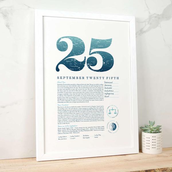 September 25th Birthday Print