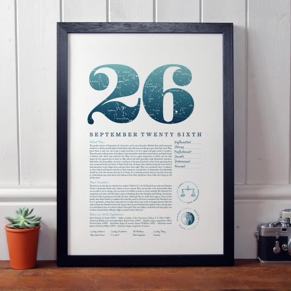 September 26th Birthday Print