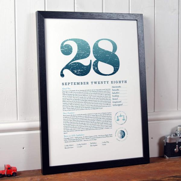 September 28th Birthday Print