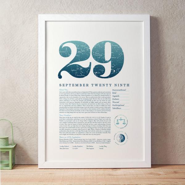 September 29th Birthday Print