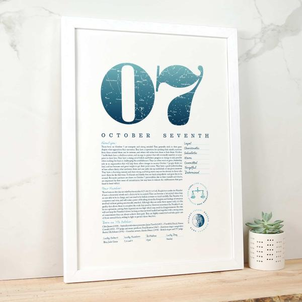 October 7th Birthday Print