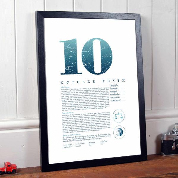 October 10th Birthday Print