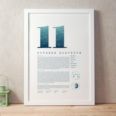 October 11th Birthday Print