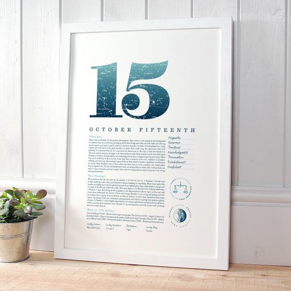 October 15th Birthday Print