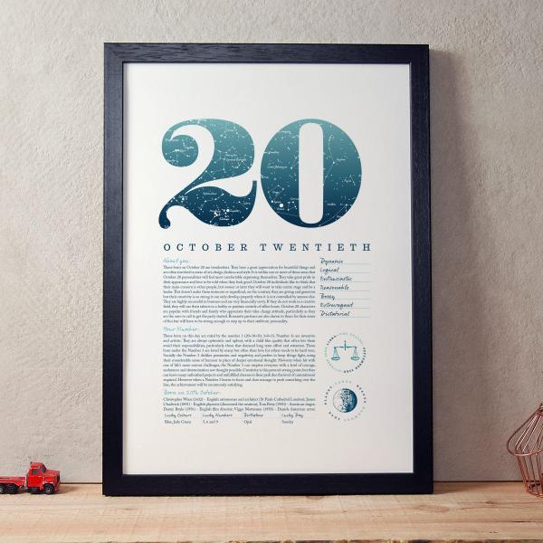 October 20th Birthday Print