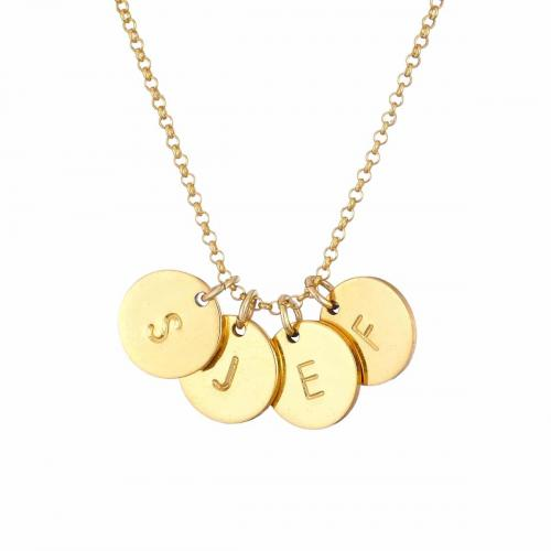 Gold intital Necklace 4 discs
