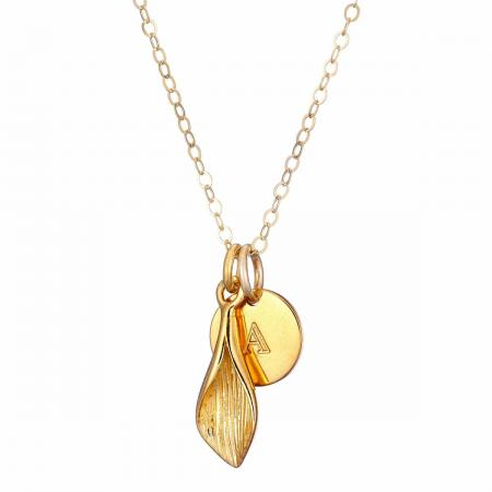 Gold Lily and Initial disc Necklace