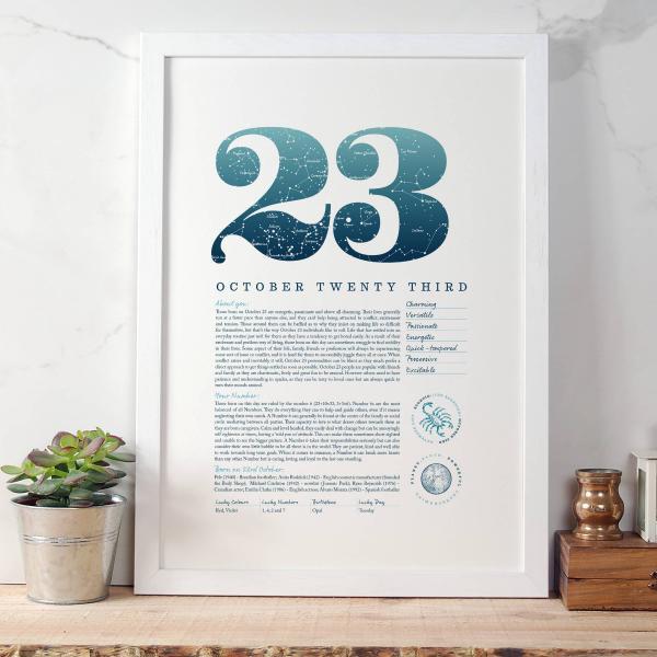 October 23rd Birthday Print