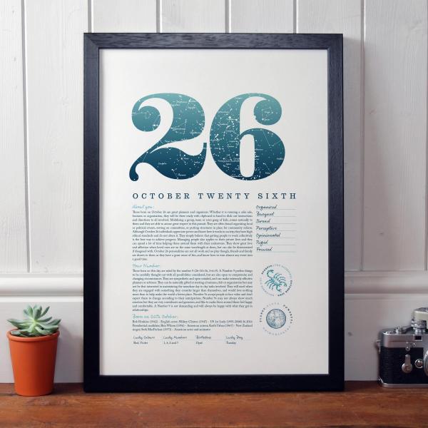 October 26th Birthday Print