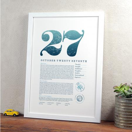 October 27th Birthday Print