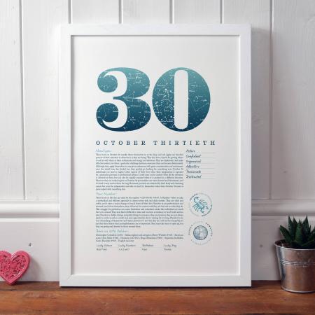 October 30th Birthday Print