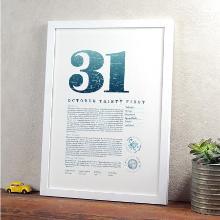October 31st Birthday Print