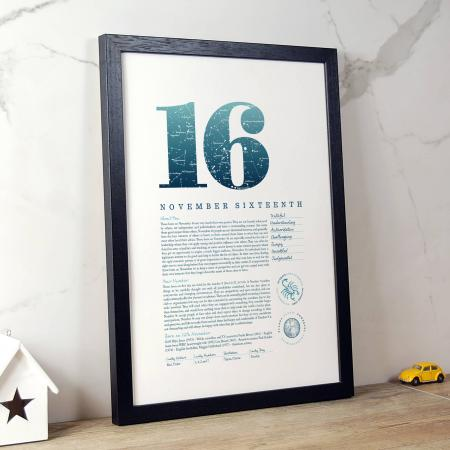 November 16th Birthday Print