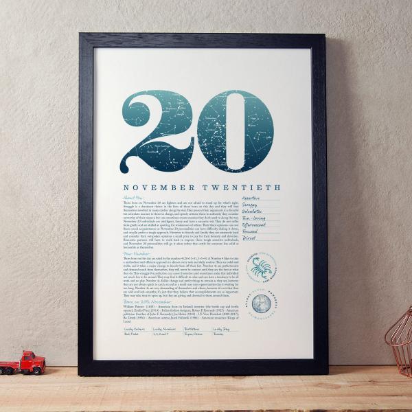 November 20th Birthday Print
