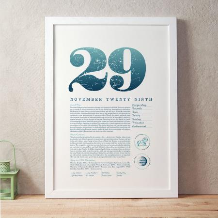 November 29th Birthday Print