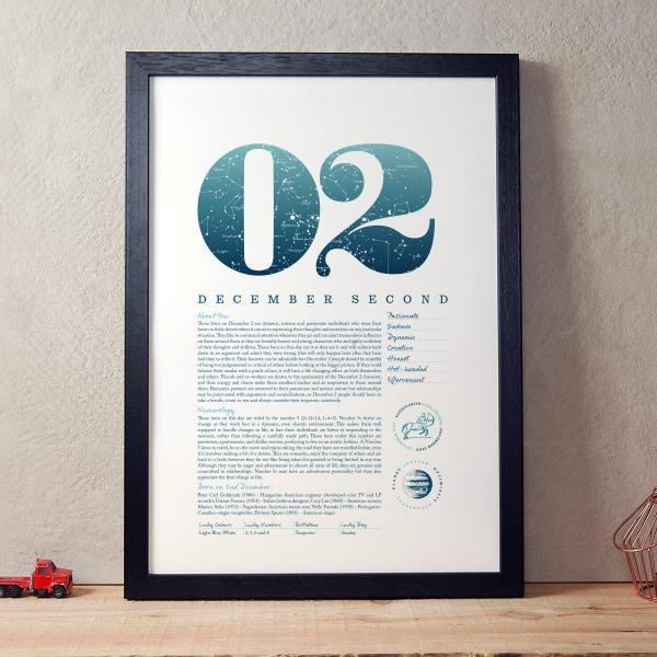 December 2nd Birthday Print