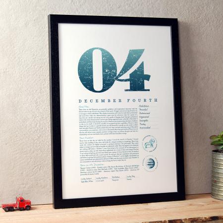 December 4th Birthday Print