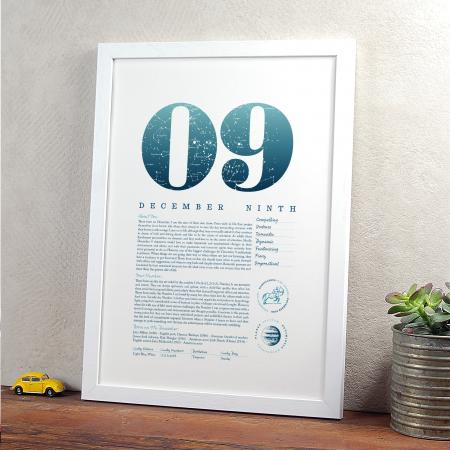 December 9th Birthday Print