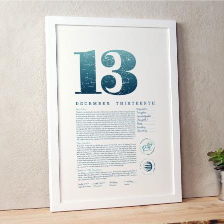 December 13th Birthday Print