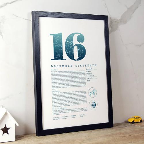 December 16th Birthday Print