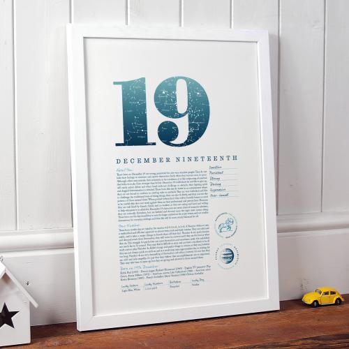 December 19th Birthday Print