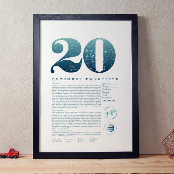December 20th Birthday Print