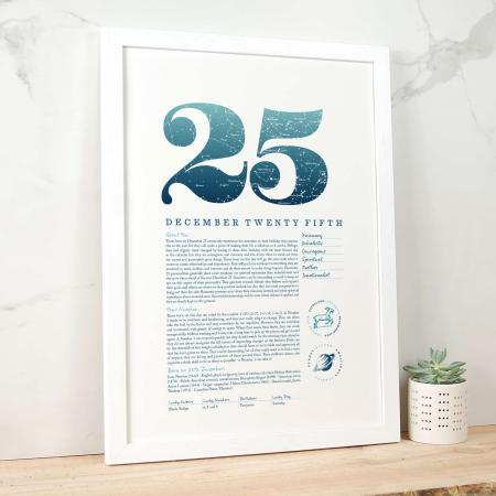 December 25th Birthday Print