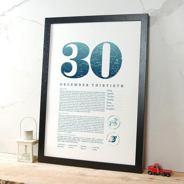 December 30th Birthday Print