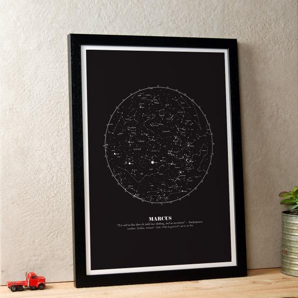 Personalised Star Map gift print in Black in black timber frame