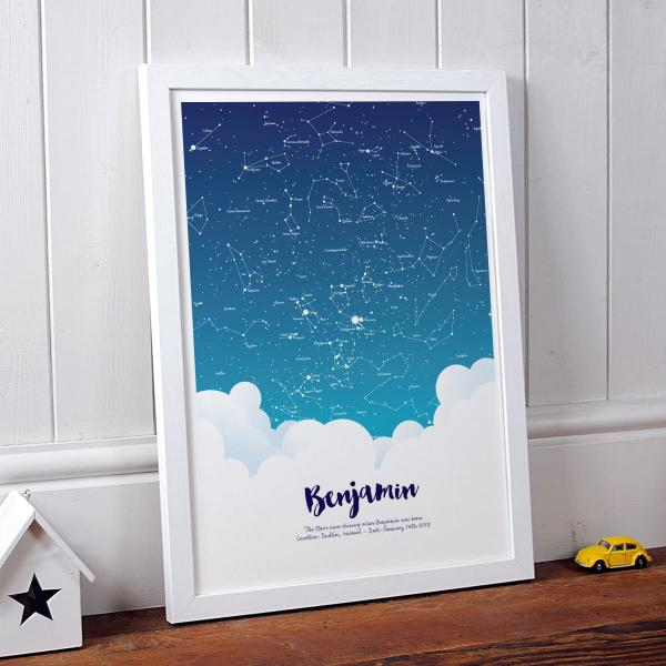 Personalised Baby Star Print Gift in white frame