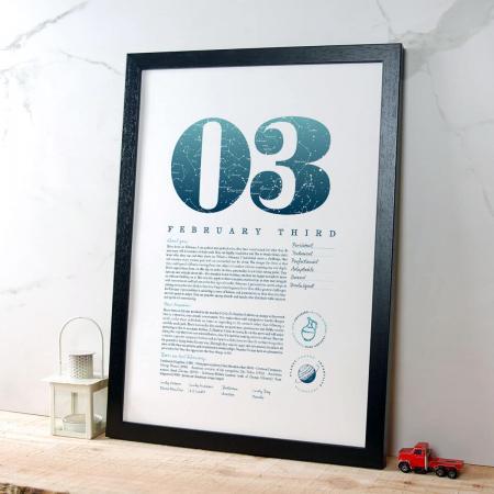 February 3 Birthday Gift Print in Blue