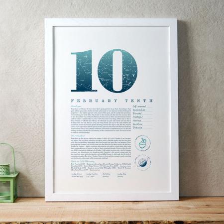 February 10 Birthday Gift Print in Blue