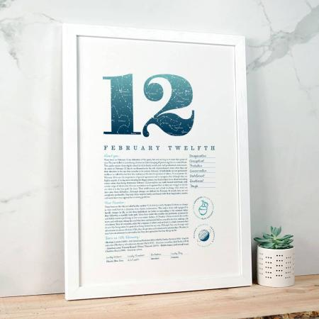 February 12 Birthday Gift Print in Blue