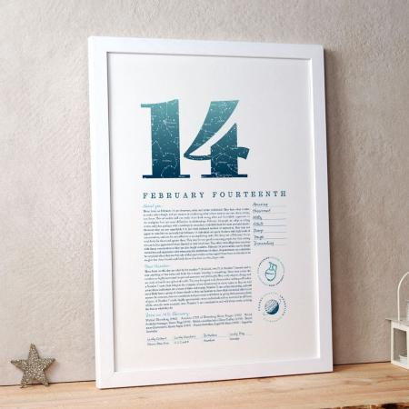February 14 Birthday Gift Print in Blue
