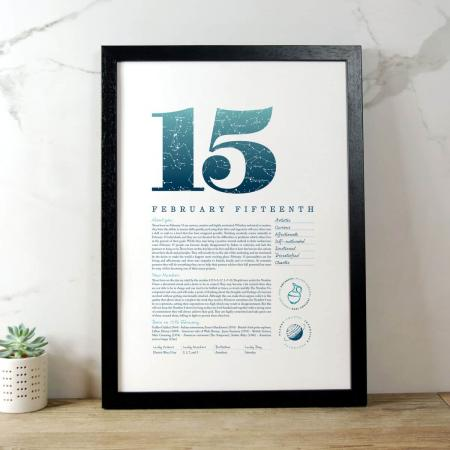 February 15 Birthday Gift Print in Blue