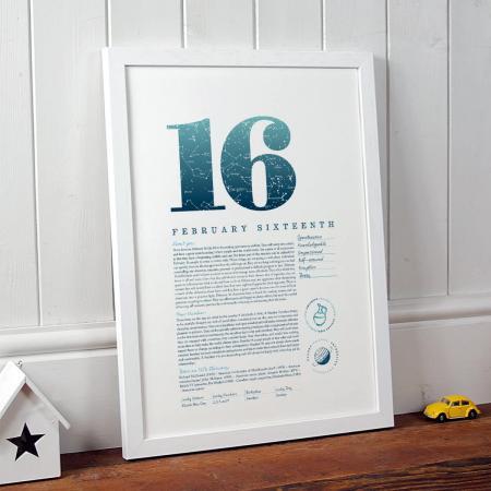 February 16 Birthday Gift Print in Blue