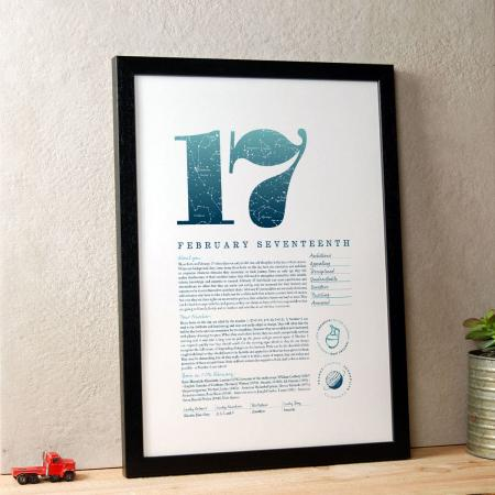 February 17 Birthday Gift Print in Blue