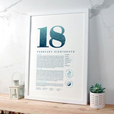 February 18 Birthday Gift Print in Blue